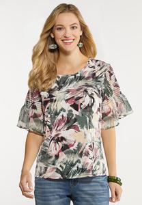 Plus Size Floral Flutter Sleeve Top