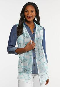 Plus Size Turquoise Marbled Vest