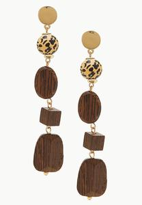 Leopard Ball Wooden Linear Earrings