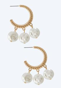 Triple Pearl Hoop Earrings