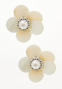 Ivory Flower Button Earrings