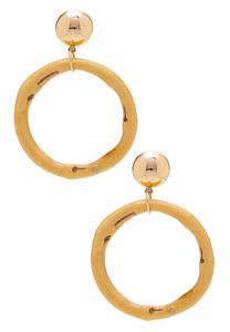 Gold Ball Bamboo Hoop Earrings