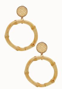 Bamboo Hoop Dangle Earrings