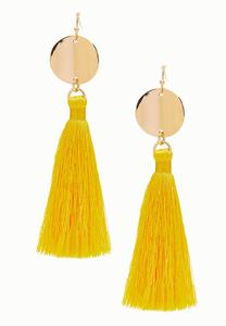 Metal Disc Tassel Earrings