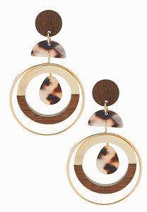 Wood Metal Mix Dangle Earrings