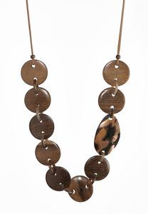 Round Disc Wood Shell Necklace