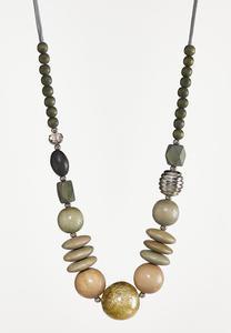 Multi Wood Bead Necklace