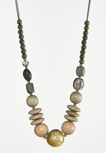 Multi Wood Bead Necklace