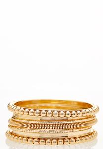 XL Gold Ball Bangle Set