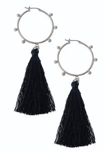 Tassel Charm Hoop Earrings