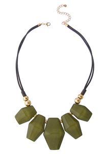 Olive Resin Charm Bib Necklace