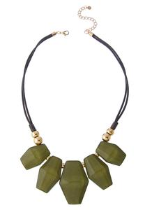 Olive Resin Charm Bib Necklace