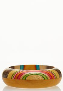 Rainbow Wooden Bangle Bracelet