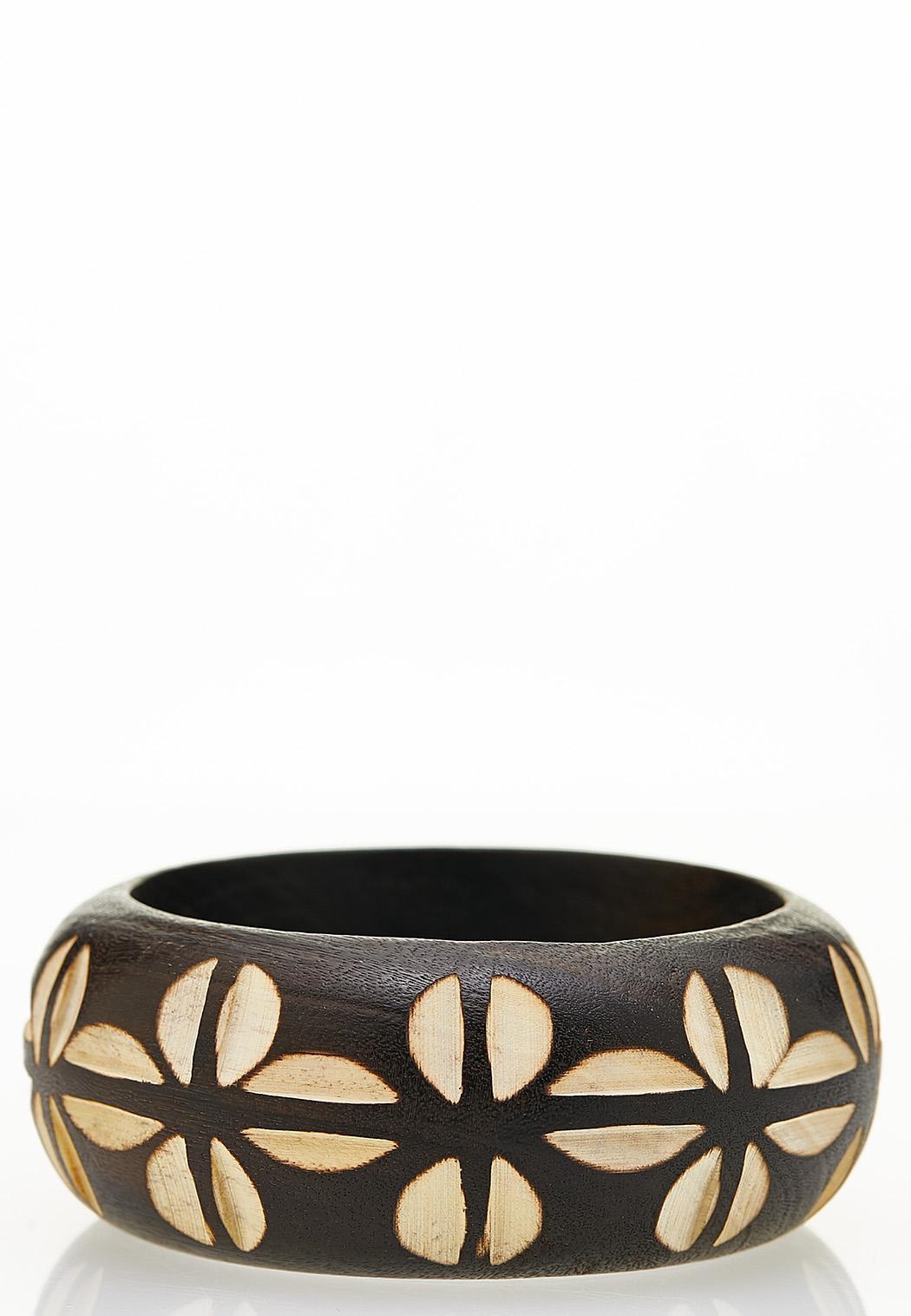 Two-Toned Wood Bangle Bracelet