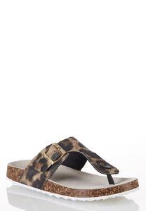 Leopard Buckle Strap Sandals