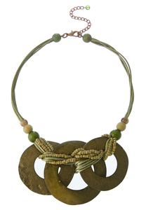 Wooden Triple Ring Necklace