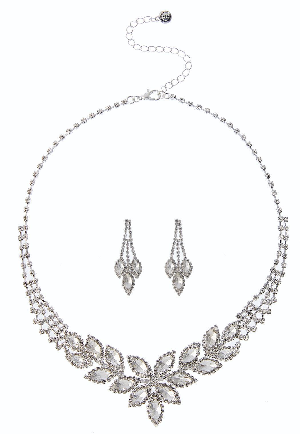 Marquis Rhinestone Necklace Set