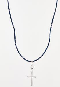 Beaded Cross Pendant Necklace