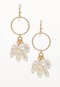 Pearl Cluster Hoop Dangle Earrings