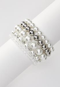 Mixed Pearl Stretch Bracelet Set