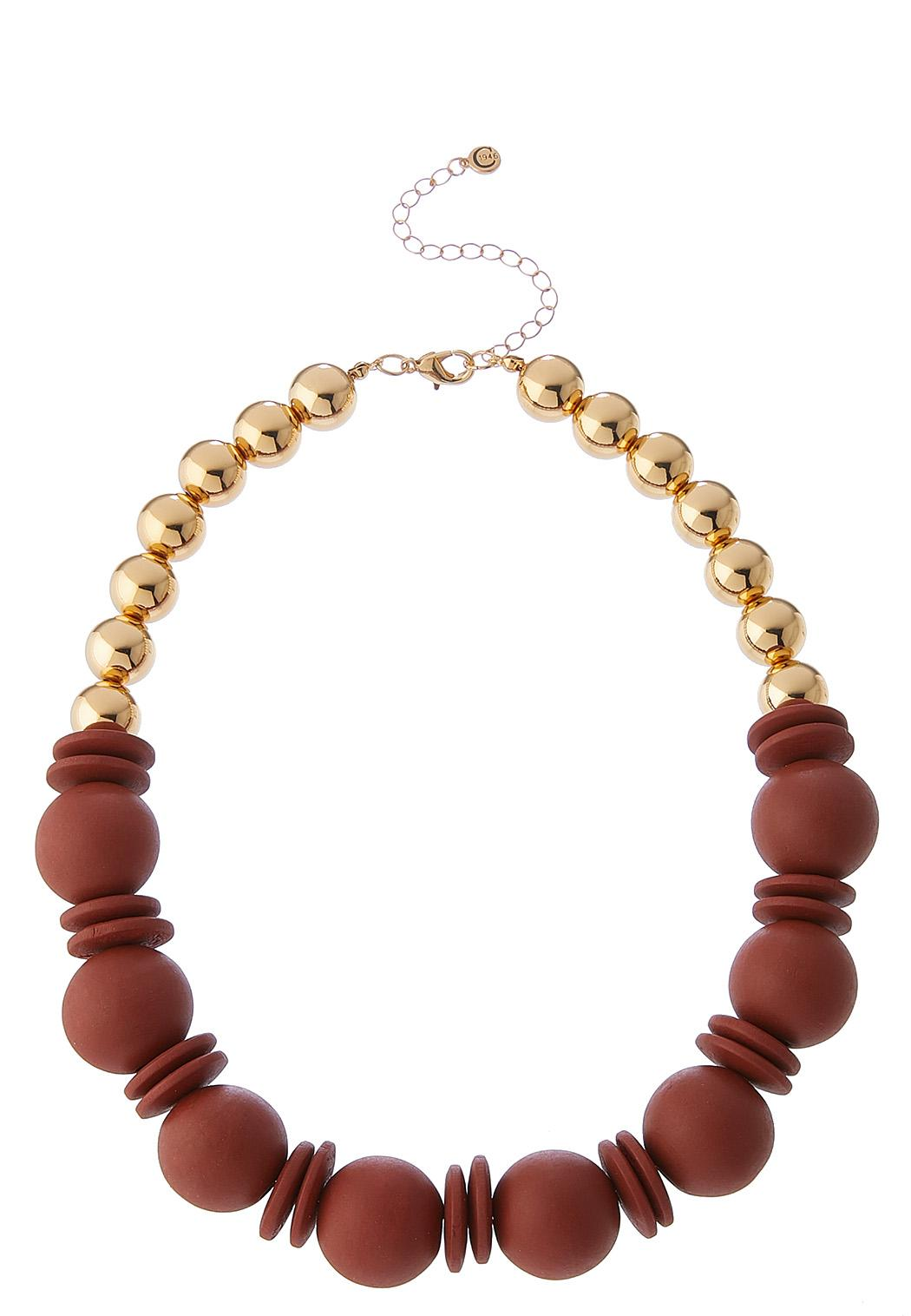 Wood And Metal Ball Necklace