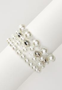 Pearl Silver Ball Bracelet Set