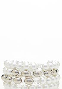 Pearl Silver Ball Coil Bracelet