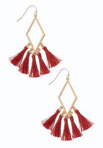 Diamond Triple Tassel Earrings