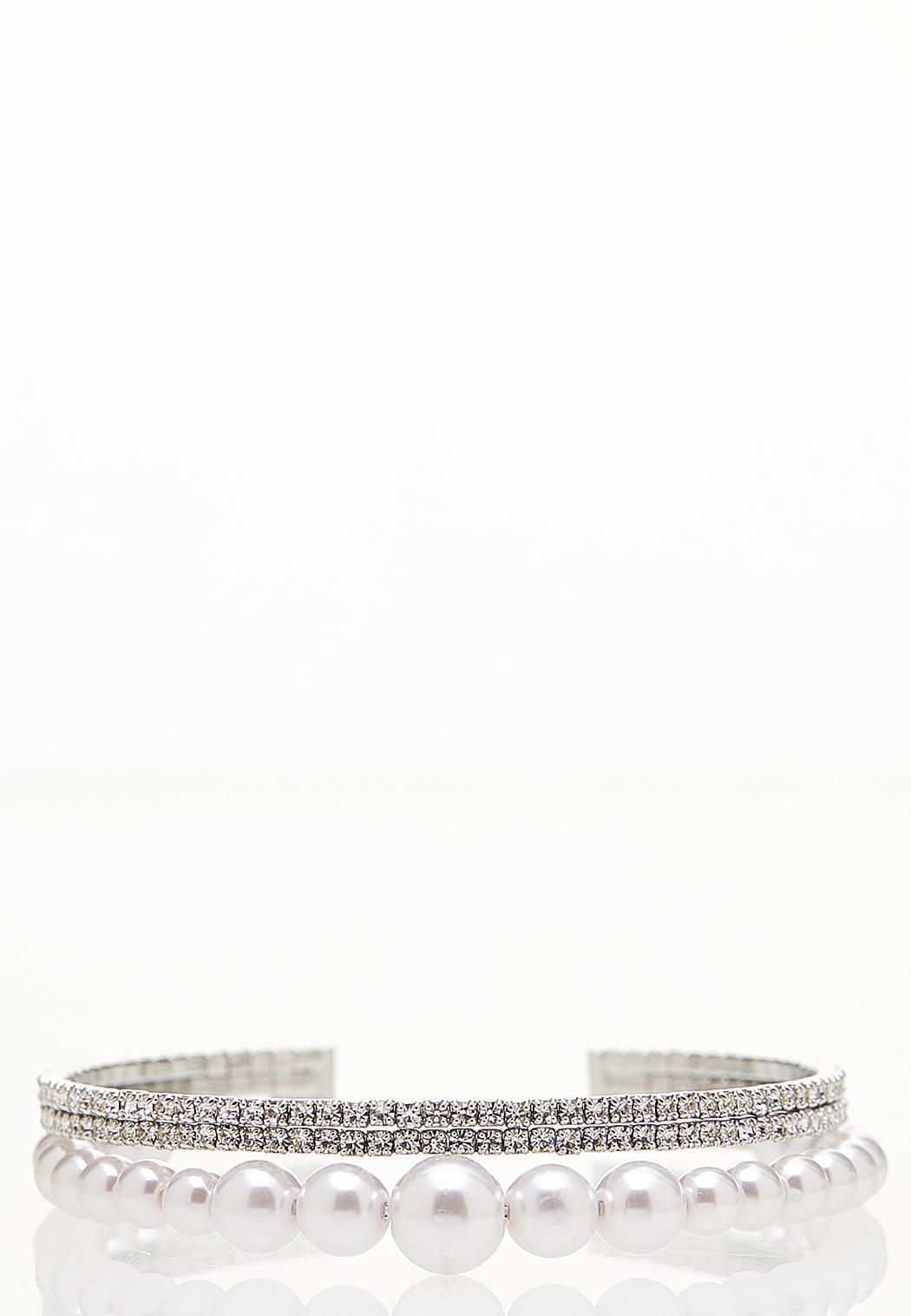 Pearl Rhinestone Flex Cuff Bracelet