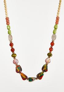Multi Chunky Bead Long Necklace