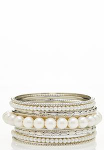 Statement Pearl Bangle Set