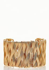 Gold Weave Cuff Bracelet