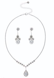 Rhinestone Tear Pendant Necklace Set