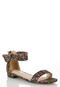 Leopard Ankle Strap Sandals