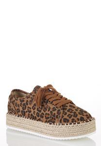Leopard Espadrille Platform Sneakers