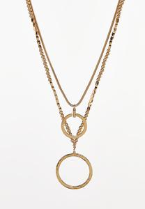Layered Bead Hoop Pendant Necklace