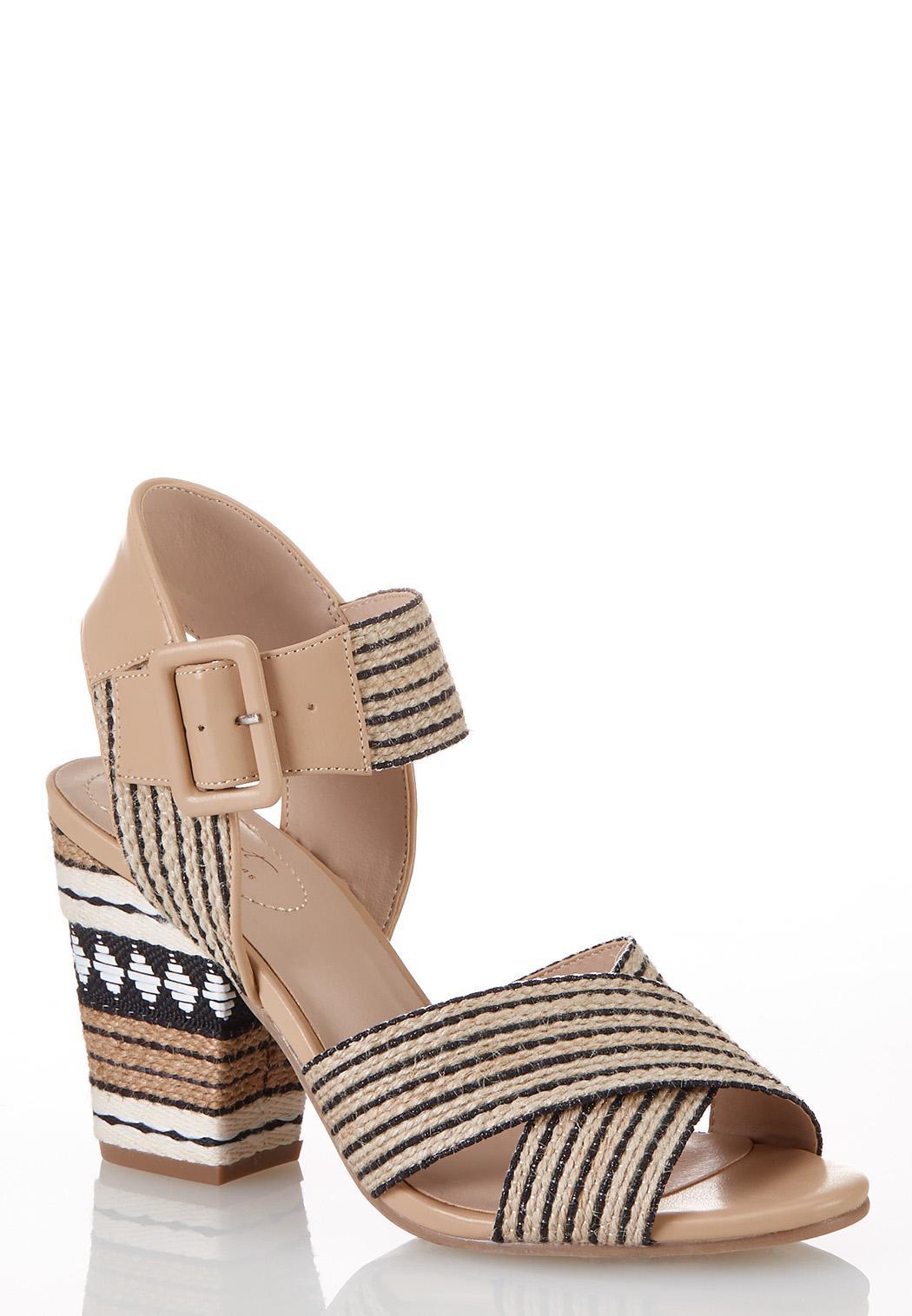 Black White Raffia Heeled Sandals