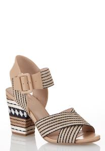 Black White Raffia Heeled Sandals