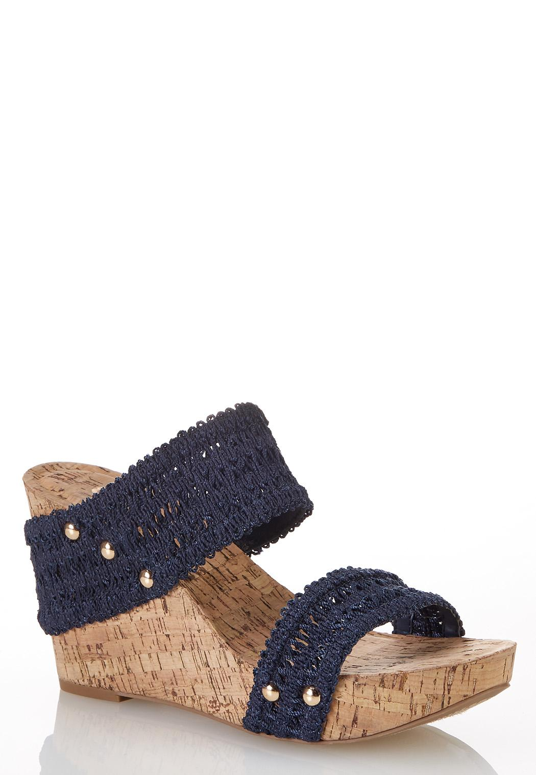 Woven Strap Cork Wedges