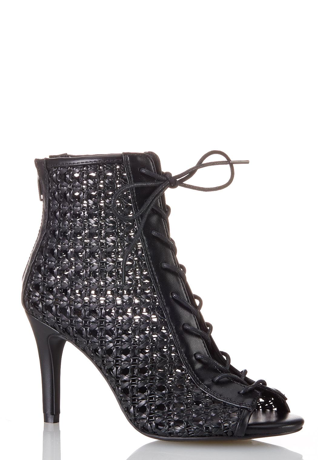 Open Weave Lace Up Booties