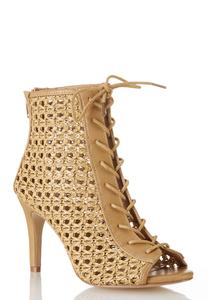 Wide Width Open Weave Lace Up Booties