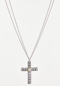 Cross Charm Double Chain Necklace