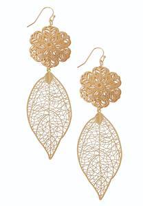Laser Cut Leaf Dangle Earrings