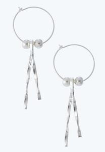 Silver Twisted Bar Earrings