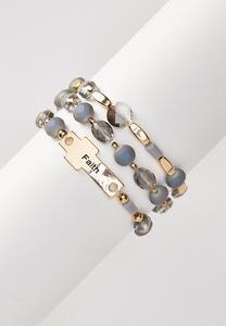 Faith Glass Bead Bracelet Set