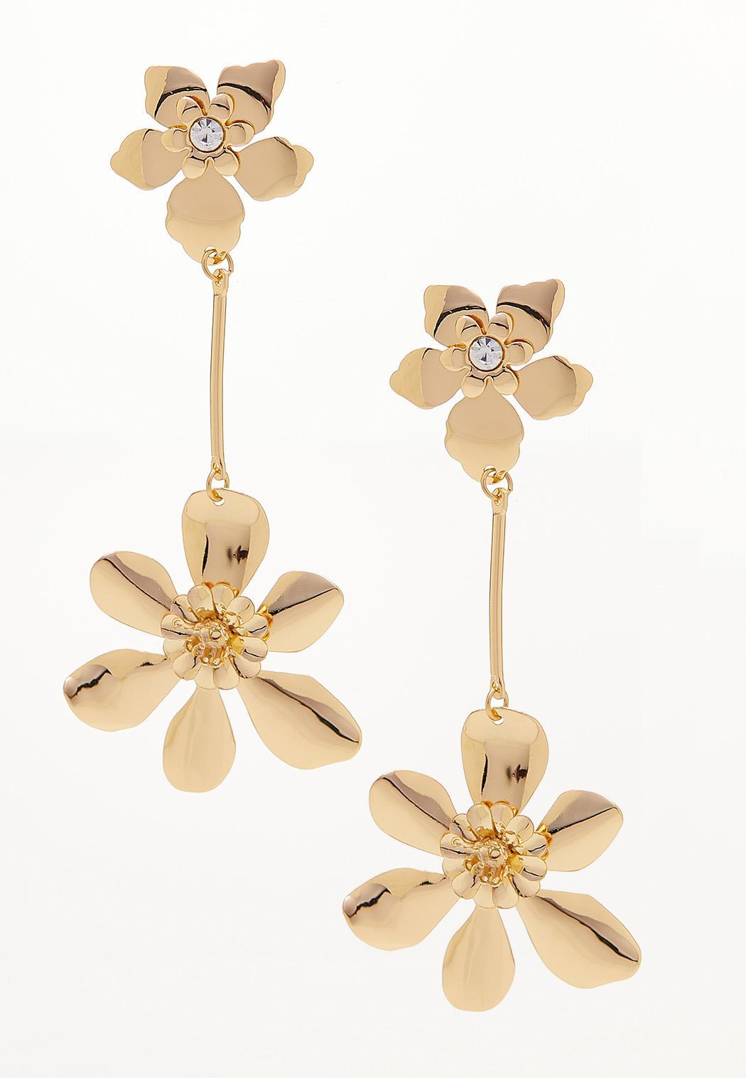 Gold Flower Plate Linear Earrings