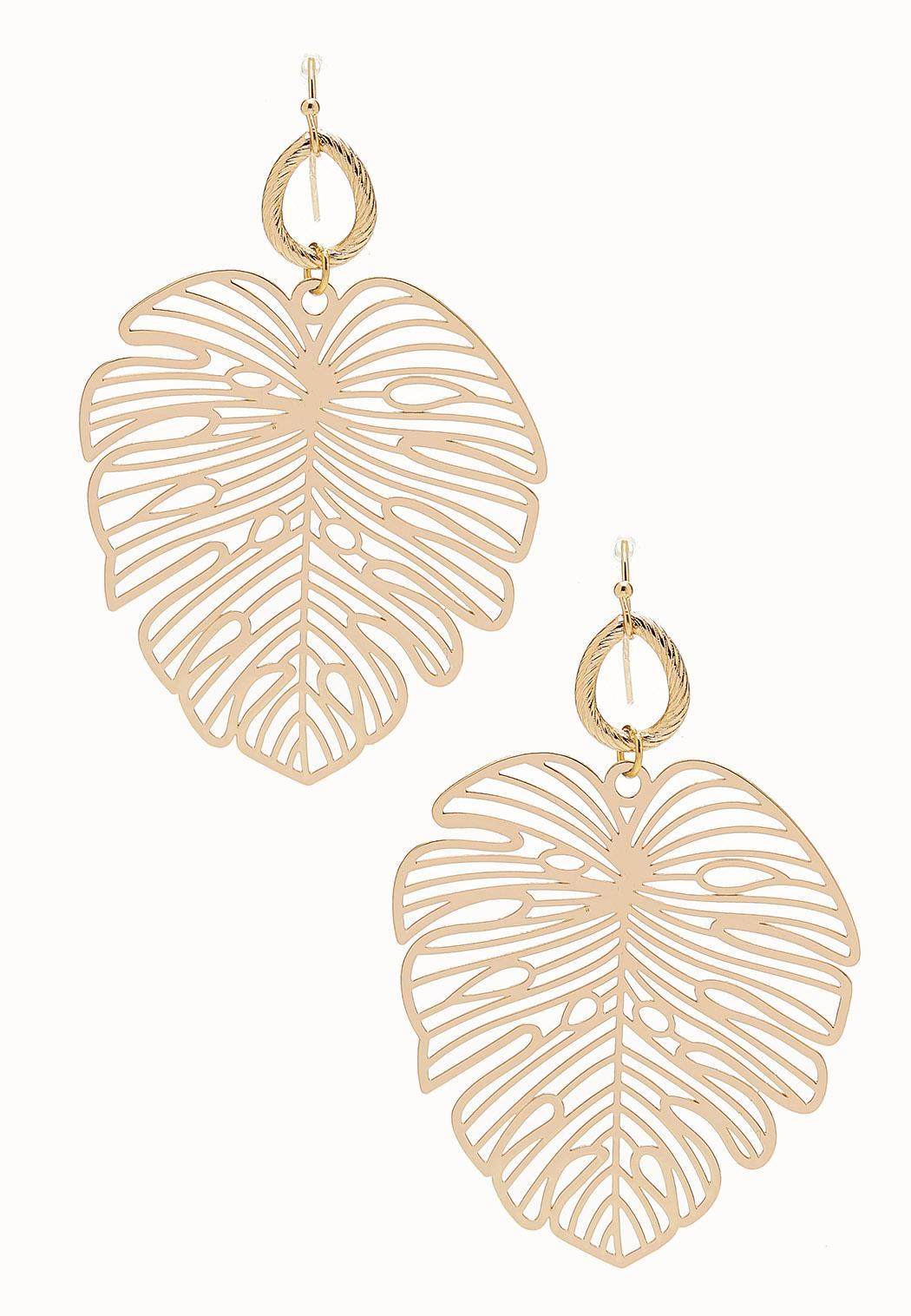 Gold Laser Cut Leaf Earrings