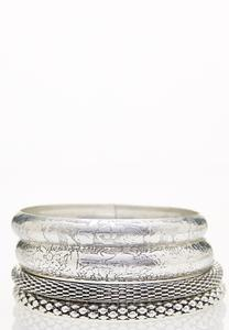 Textured Silver Bangle Set