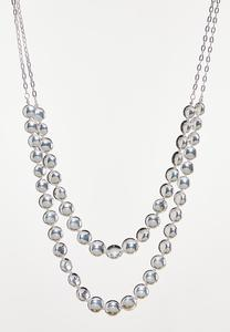 Two-Row Silver Bead Necklace