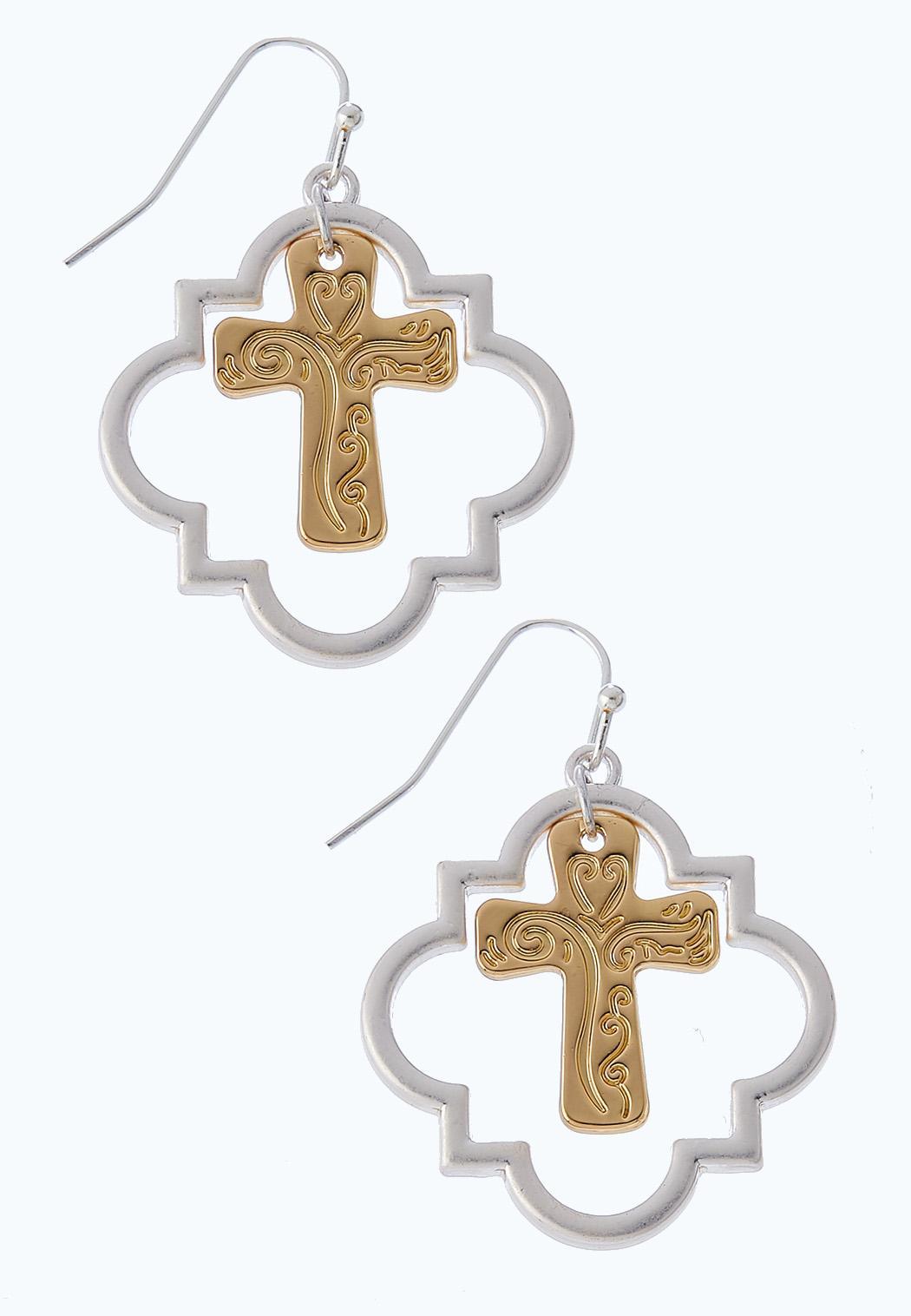 Two-Toned Cross Earrings